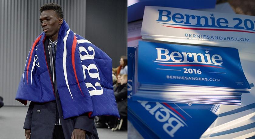 Balenciaga's homage to Bernie Sanders presidential campaign.